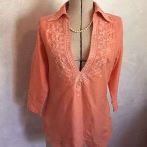 Talbots Embroidered Low Cut Top A1-4